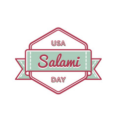usa salami day greeting emblem vector image vector image