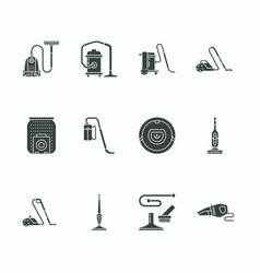 Vacuum cleaners flat glyph icons different vector