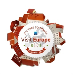 Visit Europe emblem with city landscape vector image