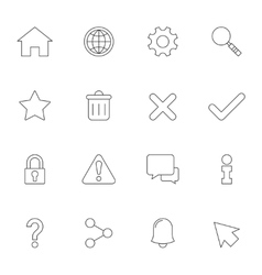 Web interface outline icons vector image vector image