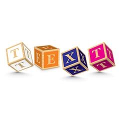 Word TEXT written with alphabet blocks vector image vector image