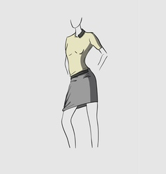 Woman in grey skirt vector