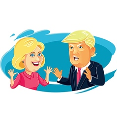 Hillary clinton and donald trump caricature vector