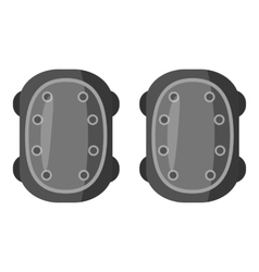 Military knee pads icon gray monochrome style vector
