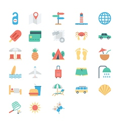 Summer and holidays colored icons 2 vector