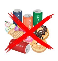 No eat sweet drinks and sweet food vector