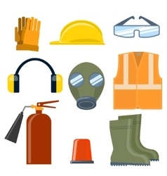 Safety work flat icons set vector image
