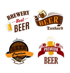 beer pub isolated icons for brewery bar vector image