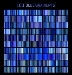 mega set of 100 blue gradients vector image