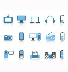 Simple electronic iconsblue color series vector