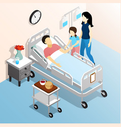 People in hospital isometric design concept vector