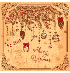 hand drawn new year card vector image