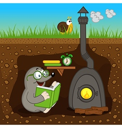 Mole reading book at home vector