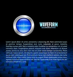 Silver button with sound wave sign over the maze vector