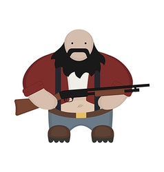 Cartoon redneck in red shirt with shotgun no vector