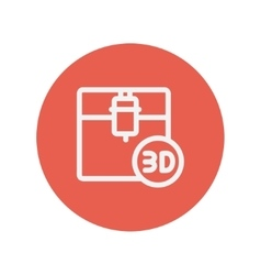 Three d printing machine thin line icon vector