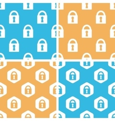 Locked padlock pattern set colored vector