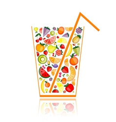 Fruit juice glass vector