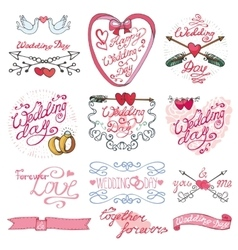 Wedding day calligraphy setvintage decorative vector