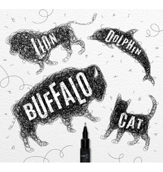 Tangled line buffalo black vector