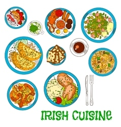 Irish national cuisine dishes set vector