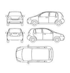 Car line draw hatchback insurance rent damage vector
