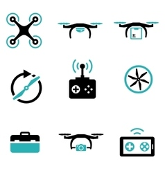 Black drone icon set vector