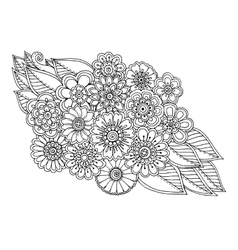 Summer doodle flower ornament with leaves hand vector