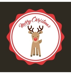Reindeer icon over seal stamp merry christmas vector