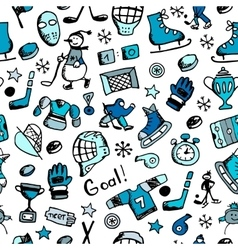 Hockey seamless pattern sketch for your design vector