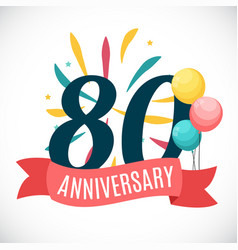 Anniversary 80 years template with ribbon vector