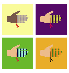assembly flat icons bloody hand vector image vector image