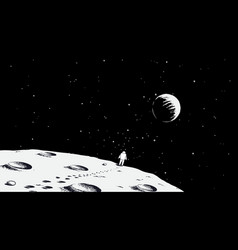 Astronaut walking on moon vector