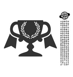 Award cup icon with work bonus vector