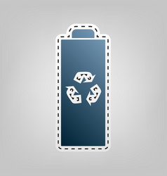 Battery recycle sign blue vector