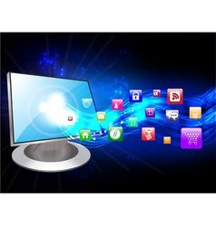 computer and icons vector image vector image