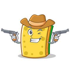 Cowboy sponge cartoon character funny vector