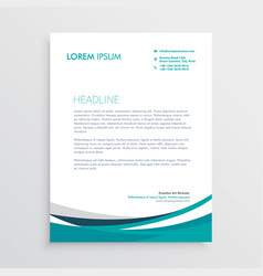 creative blue wave business letterhead design vector image vector image