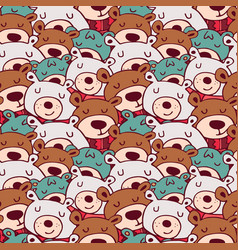Cute christmas winter bear doodle seamless pattern vector