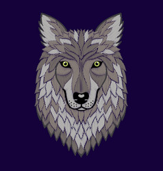 embroidery wolf head vector image