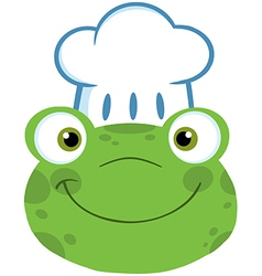 Frog Smiling Head With Chef Hat vector image vector image