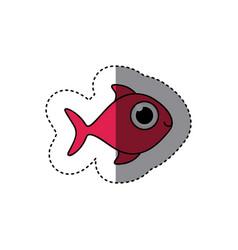 fucsia happy fish cartoon icon vector image
