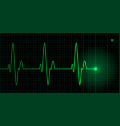 green heart pulse on black background vector image vector image