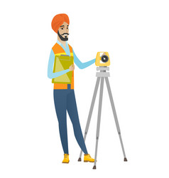 Hindu surveyor builder working with theodolite vector