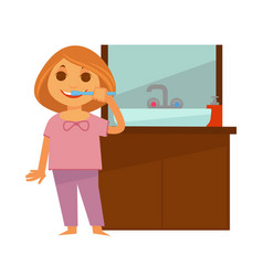 Little redhead girl brushes her teeth near vector