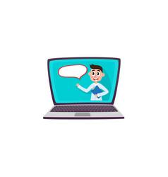 Male doctor talking on laptop screen help service vector