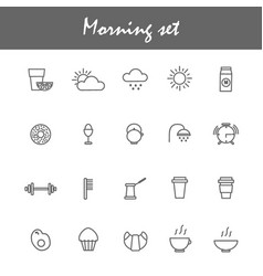 Morning icons set with coffe tea breakfast vector