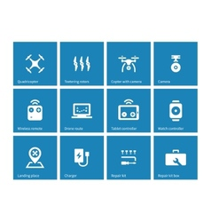 Multicopter drone icons on blue background vector