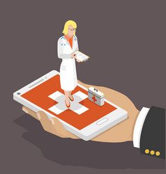 Online doctor flat isometric low poly concept vector