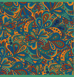 Seamless pattern ethnic floral blue and brown vector